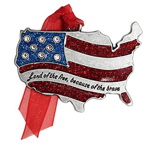 Gloria Duchin 2019 American Flag Patriotic Pewter Christmas Tree Ornaments. Various Styles (USA Flag)