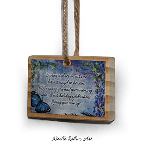 Blue butterfly remembrance wood Christmas ornament