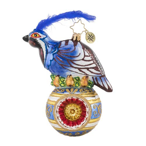 Christopher Radko On The First Day Christmas Ornament, Blue, Gold