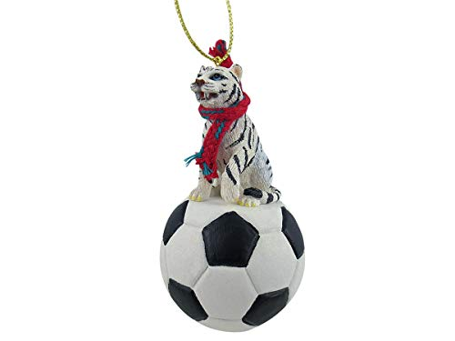 Conversation Concepts Tiger White Soccer Ornament