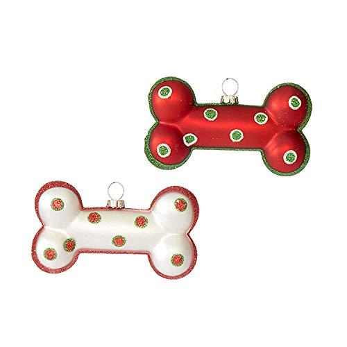 Festive Red White Dog Bone 4.25 inch Glass Decorative Christmas Ornament, Set of 2