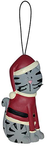 Blossom Bucket Christmas Grey Tabby Cat Wearing a Santa Sweater & Hat Resin Ornament #1
