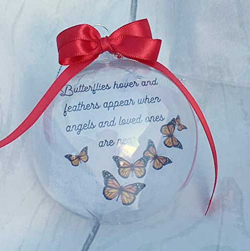 Christmas Memorial Ornaments | Butterflies Decor | Memory Gifts For Loss Of Loved One | Bereavement