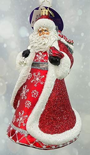 Christopher Radko Let it Snow and Sparkle Santa 1st Edition – Exclusive – Christmas Ornament Red White