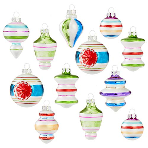 Retro Colorful Stripe 3 x 2 Glass Christmas Hanging Ornaments Boxed Set of 12