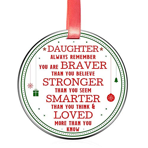 Elegant Chef Christmas Ornament for Daughter- Always Remember You are Braver Stronger Smarter- Motivational and Inspirational Gift from Mom Dad- Xmas Holidays Decoration- 3 inch Flat Stainless Steel