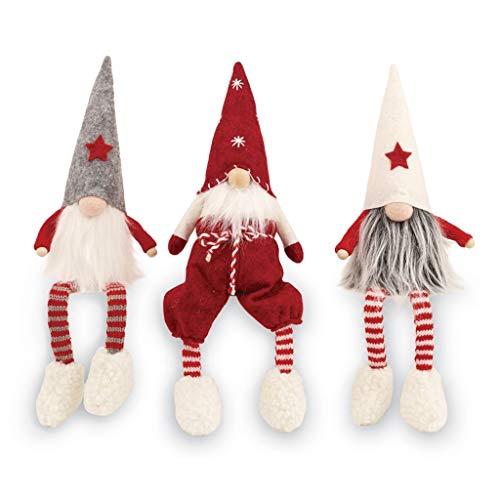 Mud Pie Christmas Decor 8in Felt Dangle Leg Gnome Sitter 3pc Set