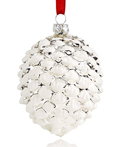 Holiday Lane Glass Silver and White Pinecone Ornament