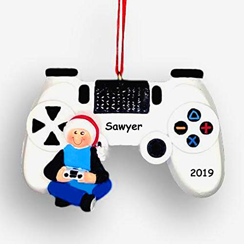 Personalized Video Game Player with White Controller Hanging Christmas Tree Ornament with Custom Name and Date