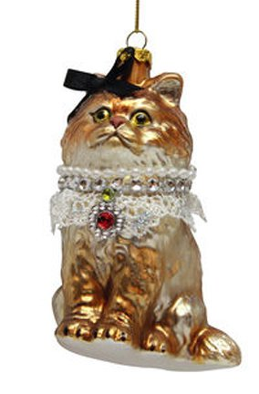 December Diamonds Blown Glass Ornament – Orange Cat with Black Bow, Lace and Red Gem Necklace