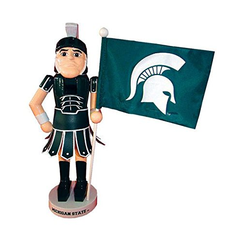 Santa's Workshop 12″ Michigan State Mascot & Flag Nutcracker (Resin & Wood)