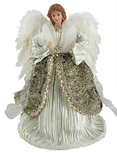 Santa's Workshop Shimmering Angel Tree Topper, 16″ Tall, Silver/White/Platinum