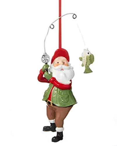 Holiday Lane Lodge Santa Fishing Ornament