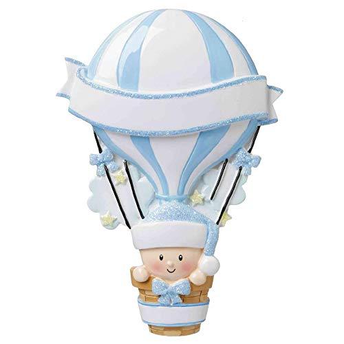 Polar X Hot Air Balloon (Blue) Personalized Christmas Ornament