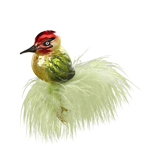 Inge Glas Bird Clip-On Green Feather 1-035-16 German Glass Christmas Ornament