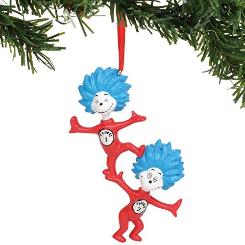 Department 56 Dr. Seuss 1 Thing 2 Hanging Ornament, 4.25″, Multicolor