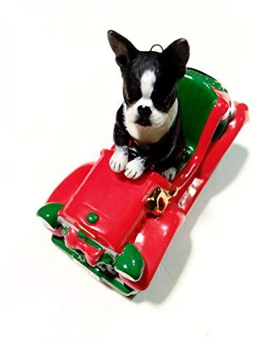 Boston Terrier Driving Holiday Roadster Ornament. Danbury Mint 2012