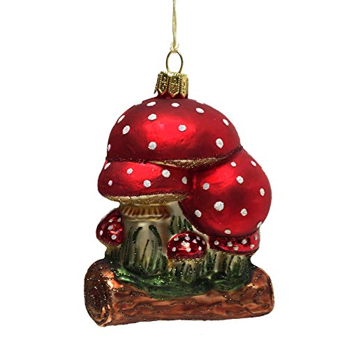 Pinnacle Peak Trading Company Red and White Toadstool Mushrooms on Log Polish Glass Christmas Tree Ornament