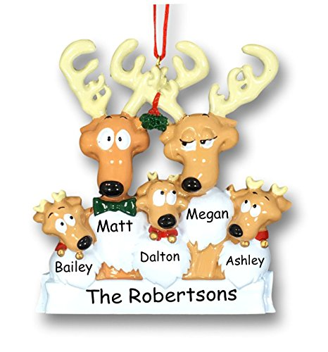 Personalized Christmas Holiday Reindeer Family of 5 with Mistletoe Decoration Hanging Christmas Ornament with Custom Names