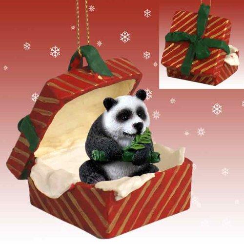 Conversation Concepts Panda Red Gift Box Ornament RGBA04