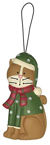 Blossom Bucket Christmas Brown Cat in Green Snowflake Sweater & Hat Resin Ornament #3