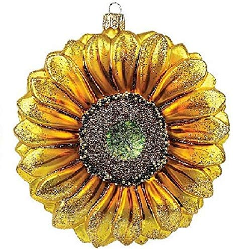 Pinnacle Peak Trading Company Sunflower Polish Glass Christmas Ornament Made in Poland Decoration