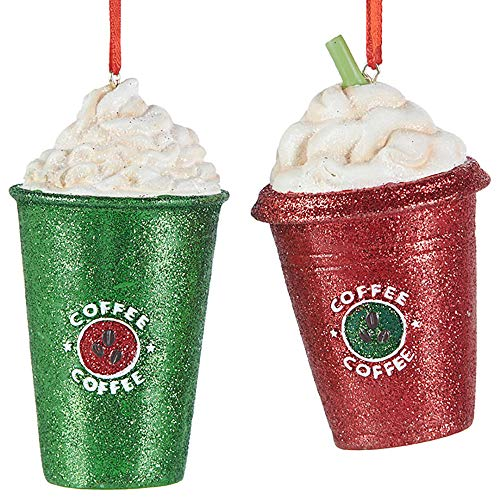 Red Green Glitter Coffee 3.5 inch Polyresin Decorative Christmas Ornament, Set of 2