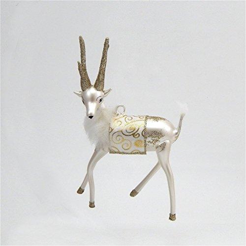 De Carlini Glass Ornament – Silver and White Reindeer – Italian Ornament
