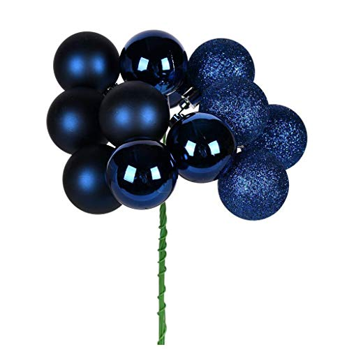 Vickerman 591888-12″ Midnight Blue Ball Christmas Tree Ornament Pick (4 pack) (N192531)