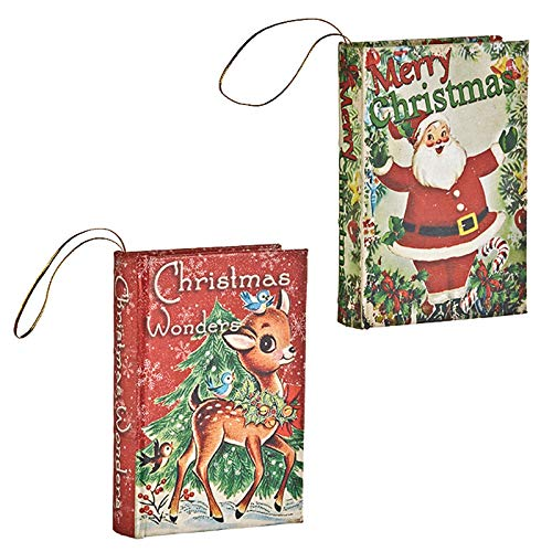 RAZ Imports Set/2 Christmas Classic Vintage Santa Reindeer Decor Book Tree Ornaments