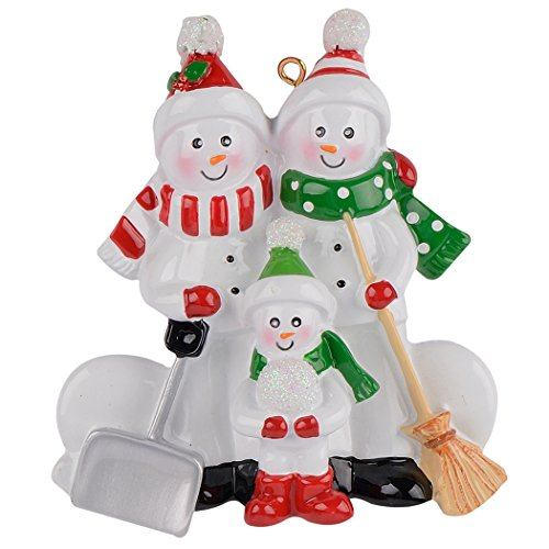 MAXORA Sweeping Snowman Family of 3 Funny Christmas Ornament