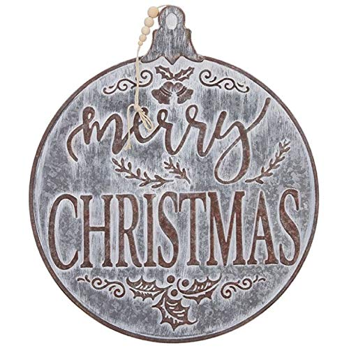RAZ Imports 19″ Merry Christmas Metal Ornament – Front Door, Wall Hanging, Tree Topper Galvanized Sign (3959145)