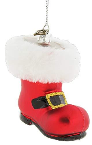 RAZ Imports Red Glass Santa Boot Ornament