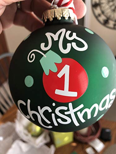 Coton Colors 100 MM Glass My My First Christmas Boy Ornament