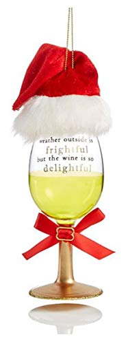 Holiday Lane Christmas Ornament White Wine Glass with Hat Ornament