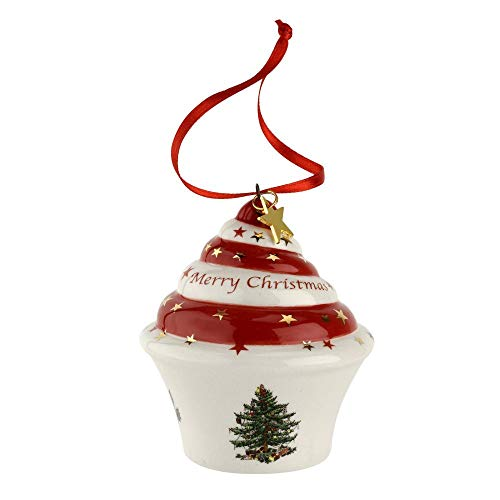 Spode Christmas Tree Cupcake Ornament 3″