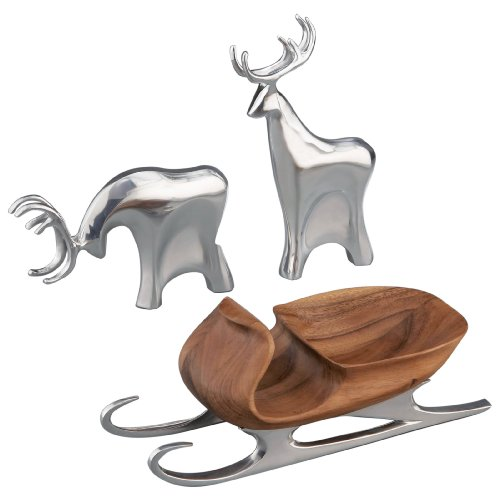 Nambe Sleigh with Reindeer, Christmas Figurine