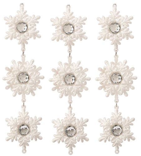 Raz Set of Three! Silver Glitter 6 Point Snowflake with Faceted Faux Jewel Center Drop Christmas Ornament 9″ Set of Three (White)
