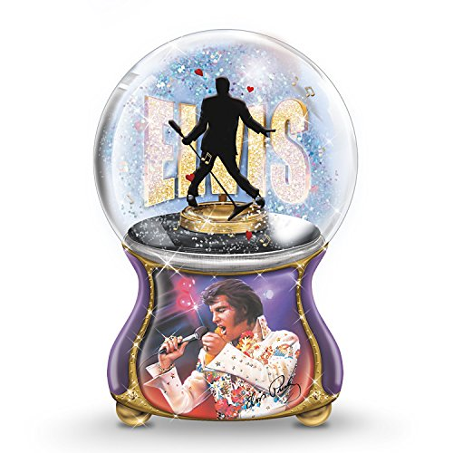 The Bradford Exchange Elvis Presley Musical Glitter Globe Plays Burning Love in Elvis's Actual Voice