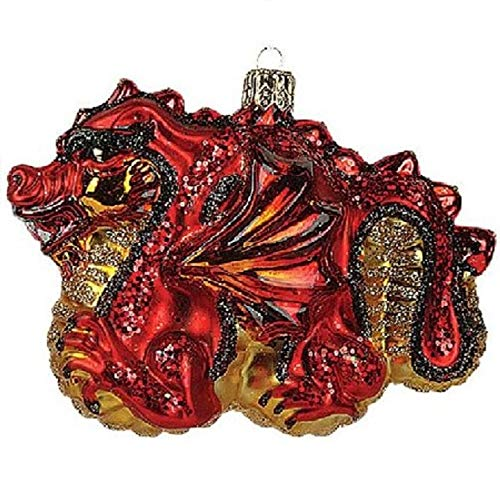 Pinnacle Peak Trading Company Chinese Red Dragon Glass Christmas Ornament Made in Poland Decoration