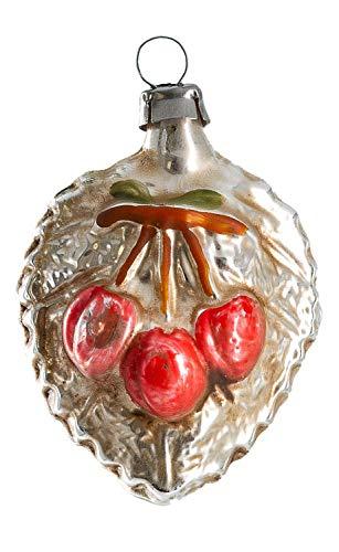 Marolin Cherries with Leaf MA2011123 Glass Christmas Ornament w/Gift Box