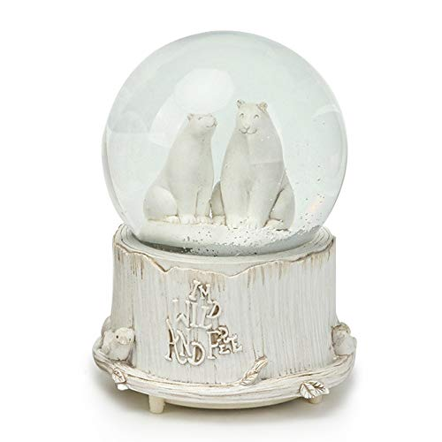 SURPRIZON Personalized Snow Globe Musical Box with Colorful Changing LED Lights, 100MM 6.3″ Tall Home Décor Christmas Brithday Gift (Polar Bear)