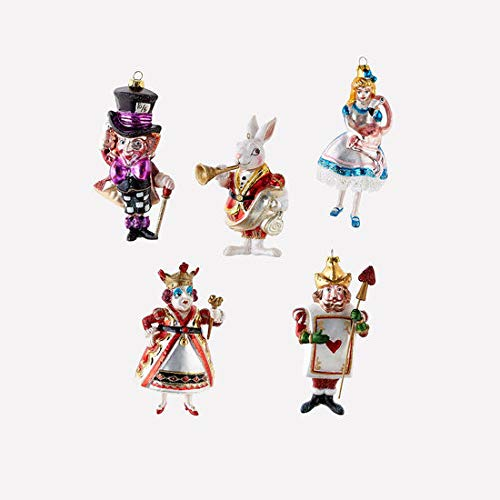 One Hundred 80 Degrees Alice in Wonderland/Set of 5 Christmas Tree Ornaments