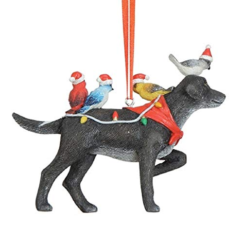 Creative Co-op Labrador Retriever with Holiday Birds Hanging Ornament