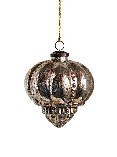 Creative Co-op Antique Copper & Silver Glass Ornaments, Silver