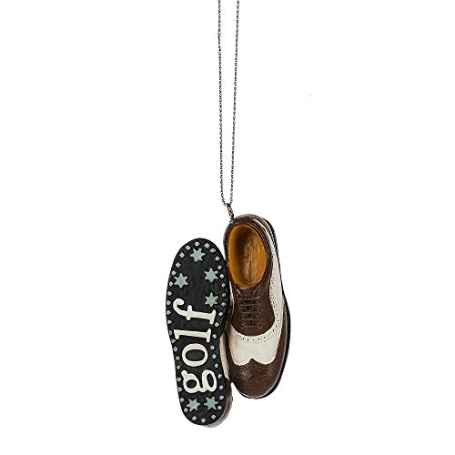 Midwest Brown Black Saddle Shoe Golf 2 inch Resin Decorative Christmas Ornament