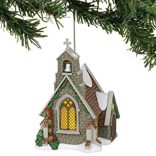 Department 56 Dickens Village Isle of Wight Chapel Hanging Ornament, 4.41 Inch, Multicolor