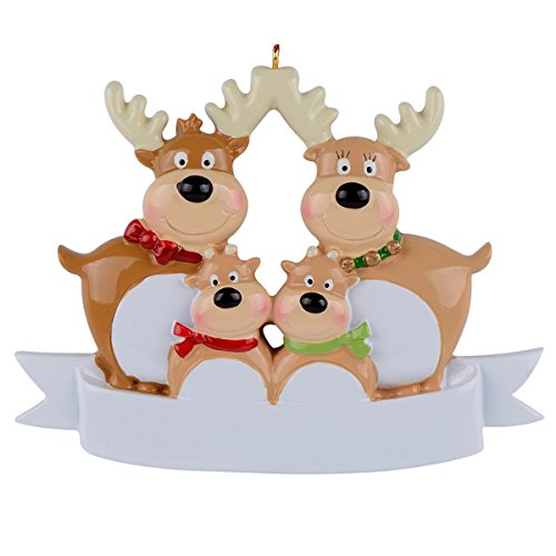 WorldWide Reindeer Family of 4 Ornament Christmas Decorations