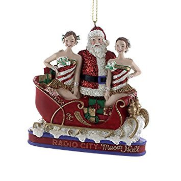 Kurt Adler Radio City Music Hall Rockettes with Santa in Sleigh Christmas Ornament RK2152