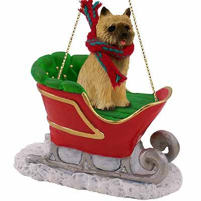 Conversation Concepts Cairn Terrier, Red Sleigh Ride Ornament